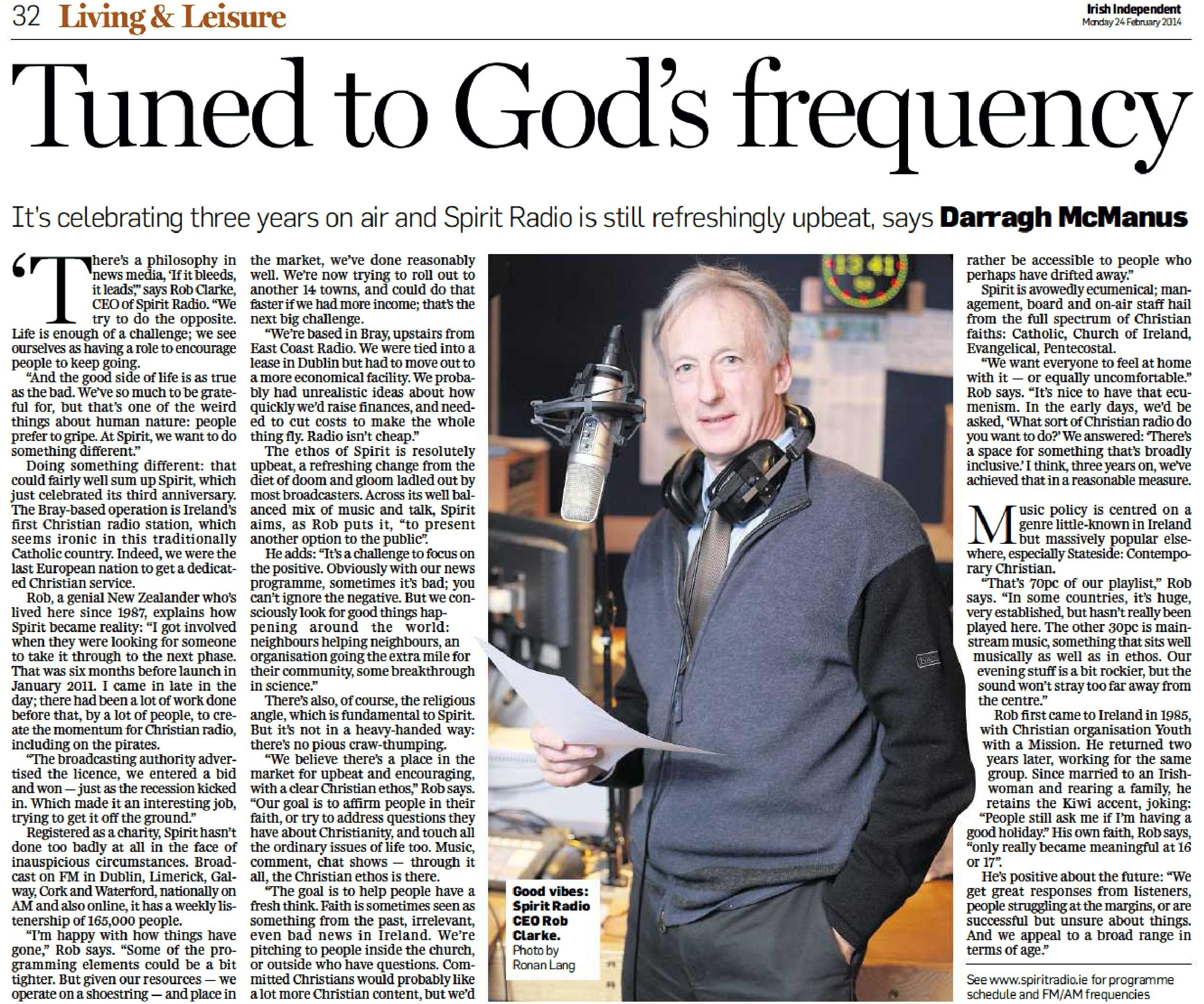 Tuned to God's frequency was a headline from The Irish Independent dated February 24th 2014
