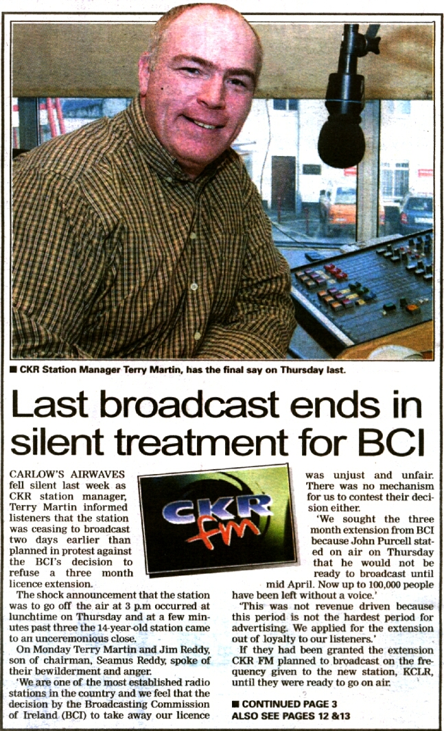 Carlow People Last broadcast ends in silent treatment for BCI