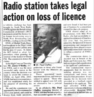 A legal challenge has been brought by North West Radio (NWR) against the Broadcasting Commission of Ireland's (BCI) decision to award the licence for its former broadcasting area to North West Broadcasting Ltd. (NWBL), trading as Ocean FM.
