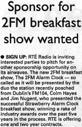Irish Examiner Sponsor for 2FM breakfast show wanted
