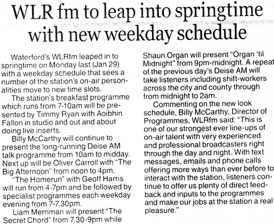 Munster Express WLR fm to leap into springtime with new weekday schedule