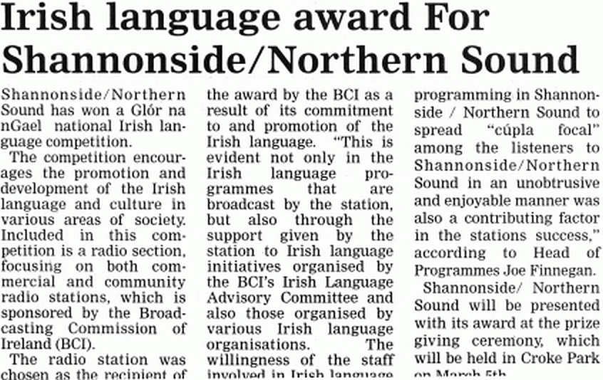 Roscommon Herald Irish language award for Shannonside/Northern Sound