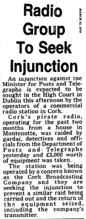 Radio group to seek injunction was a headline in The Evening Echo dated March 23rd 1979
