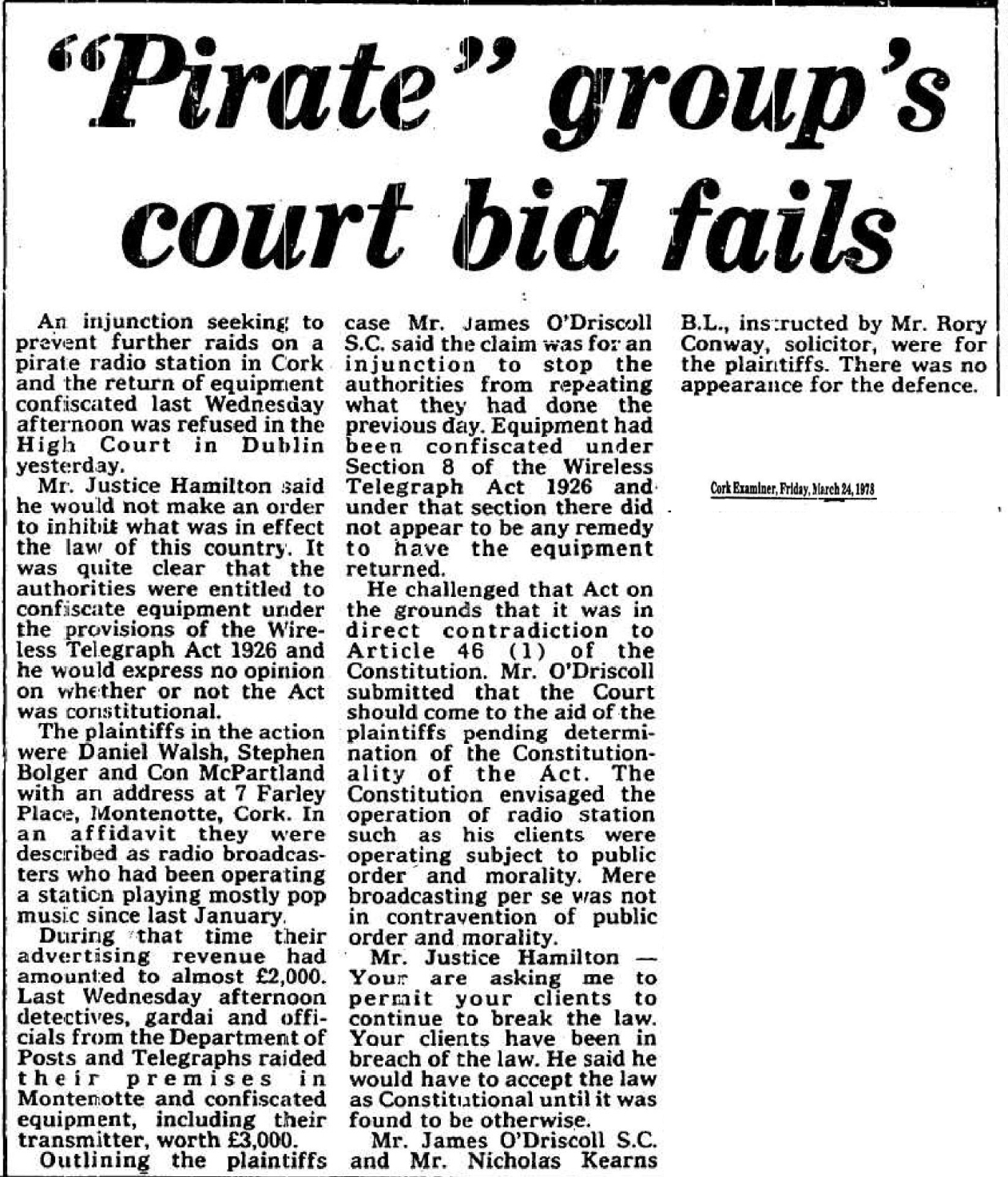 'Pirate' group's court bid fails was a headline in The Cork Examiner dated March 24th 1979