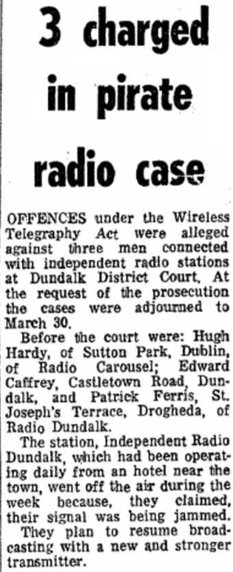 3 charged in pirate radio case was a headline in The Irish Press dated March 3rd 1979
