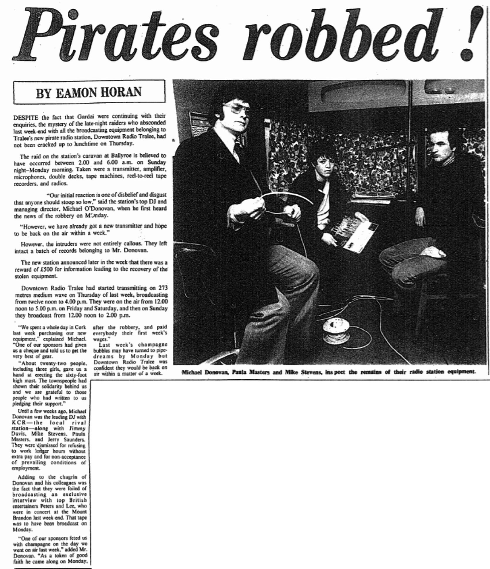 Pirates robbed! was a headline in The Kerryman dated March 2nd 1979