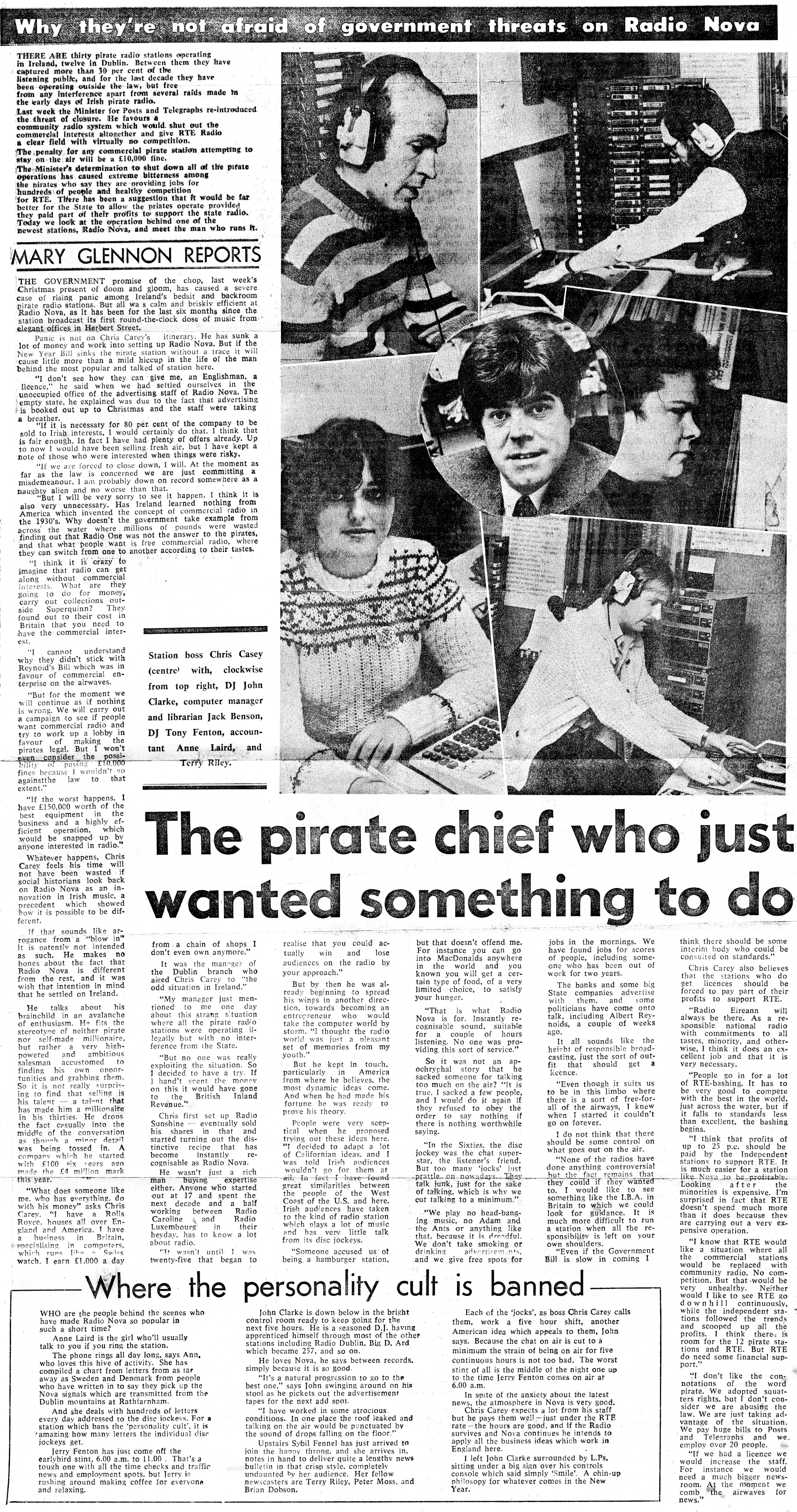 Why they're not afraid of government threats in Radio Nova was a newspaper headline from the Evening Herald dated December 8th 1981