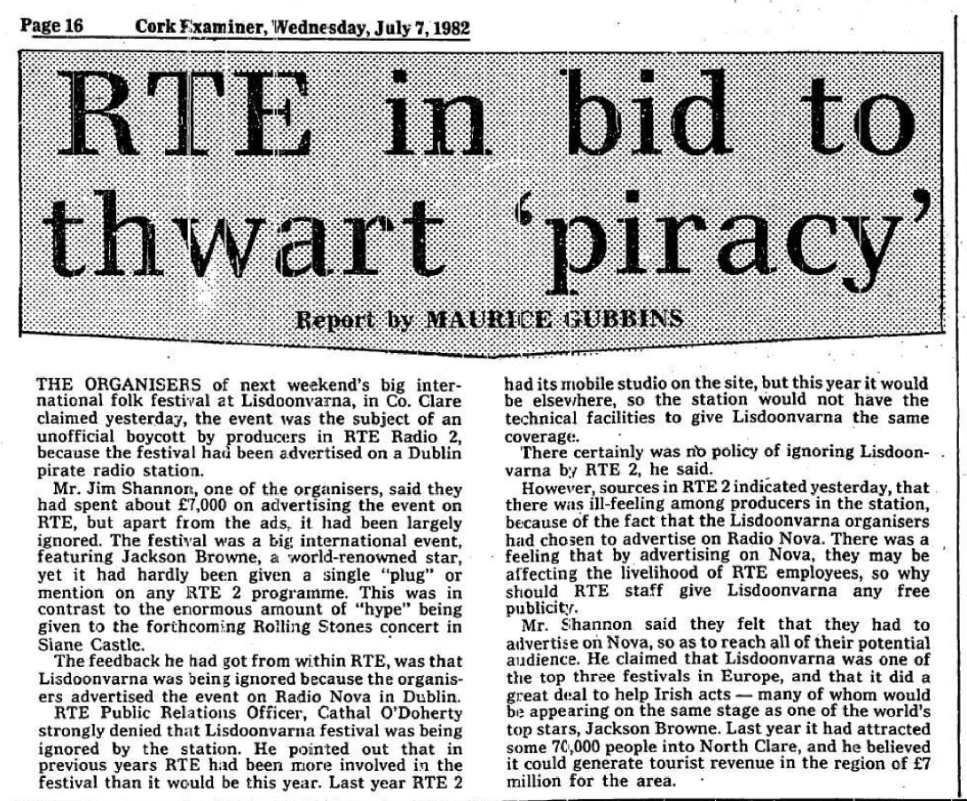RTÉ in bid to thwart 'piracy' was a newspaper headline from The Cork Examiner dated July 7th 1982