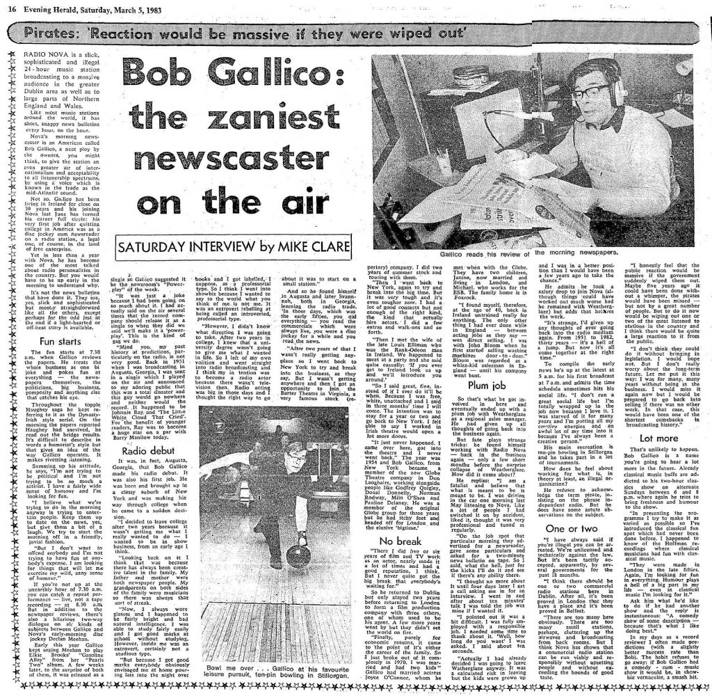 Bob Gallico - the zaniest newscaster on the air was a newspaper article from the Evening Herald dated March 5th 1983