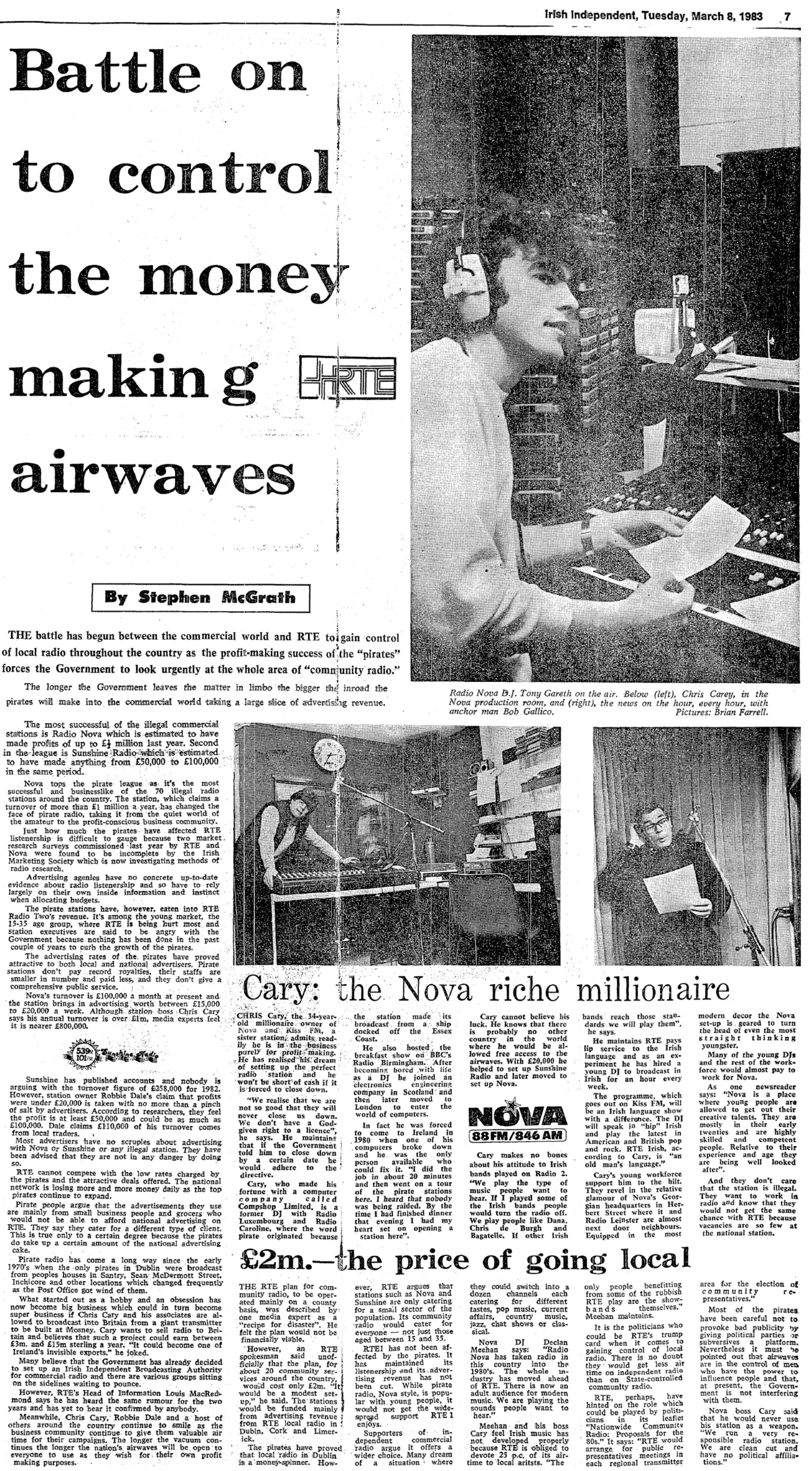 Battle on to control the money making airwaves was a newspaper headline from the Irish Independent dated March 8th 1983