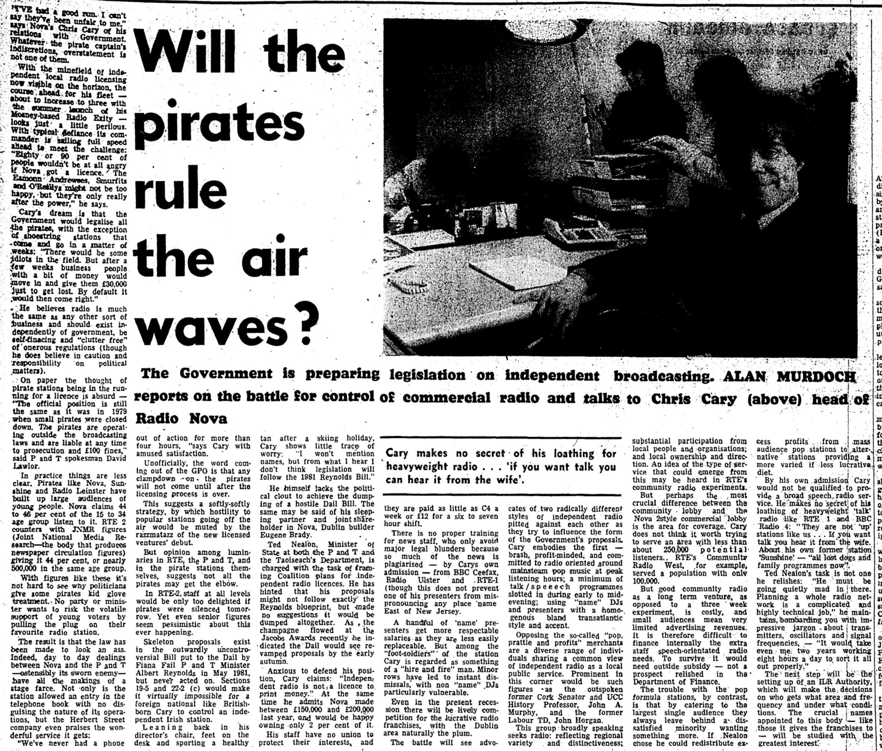 Will the pirates rule the airwaves? was a newspaper headline from the Irish Press dated April 11th 1983