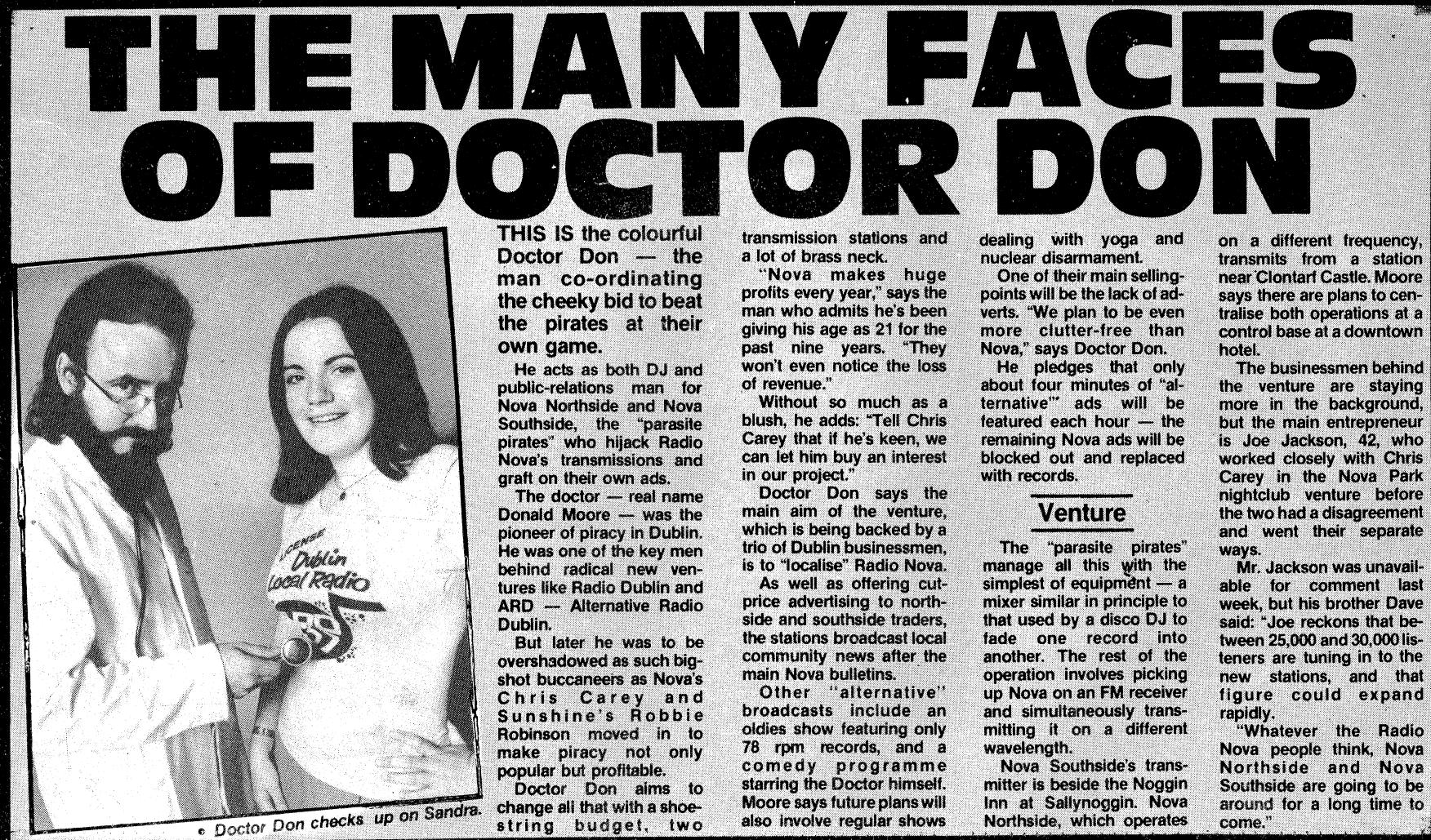 Doctoe Don Nova Northside Sunday World dated December 25th 1983
