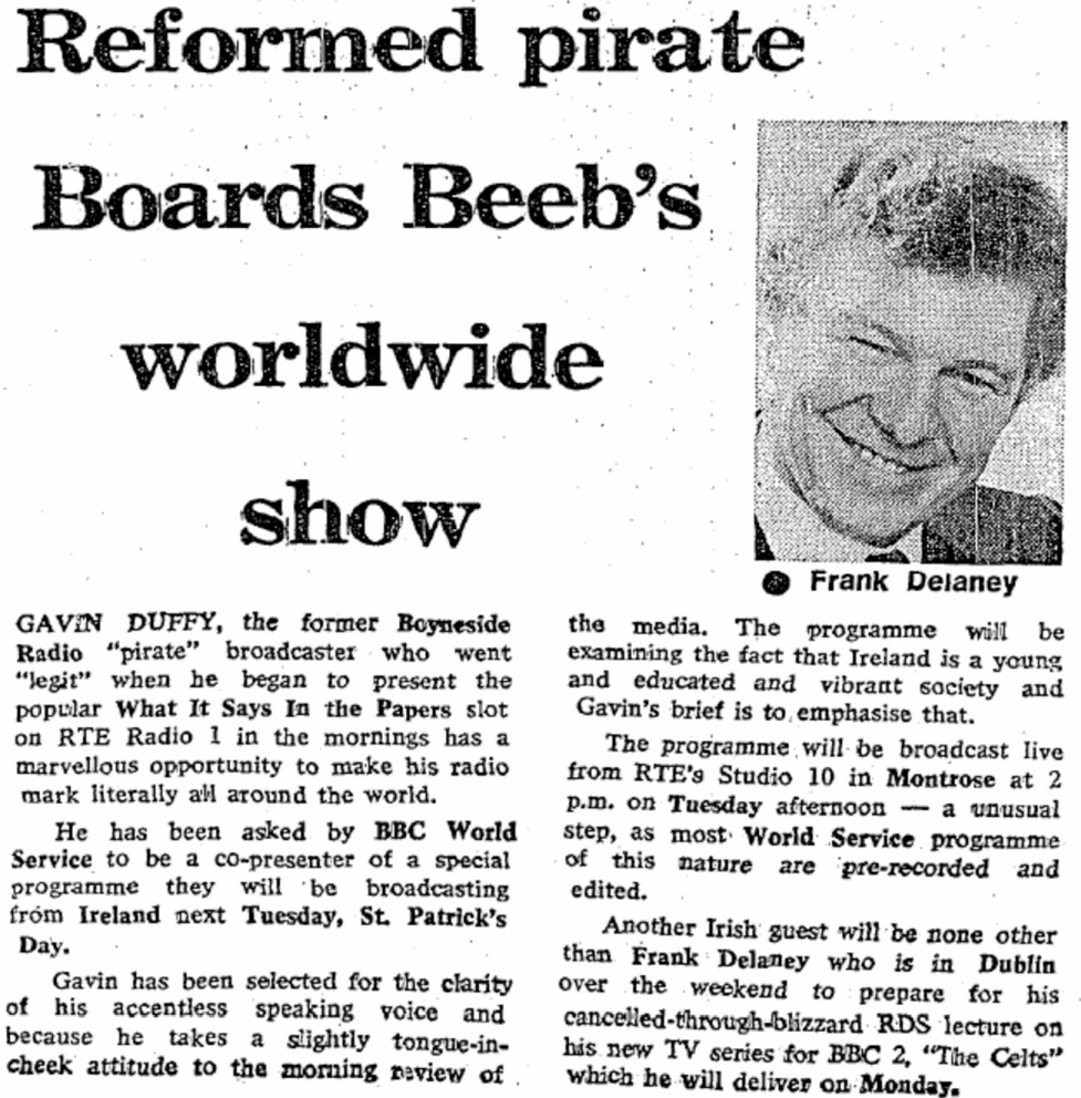 Reformed pirate boards Beeb's worldwide show was a newspaper headline from The Irish Independent dated March 12th 1986