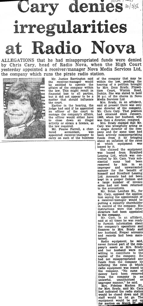 Cary denies irregularities at Radio Nova was a newspaper headline from The Irish Press dated March 20th 1986