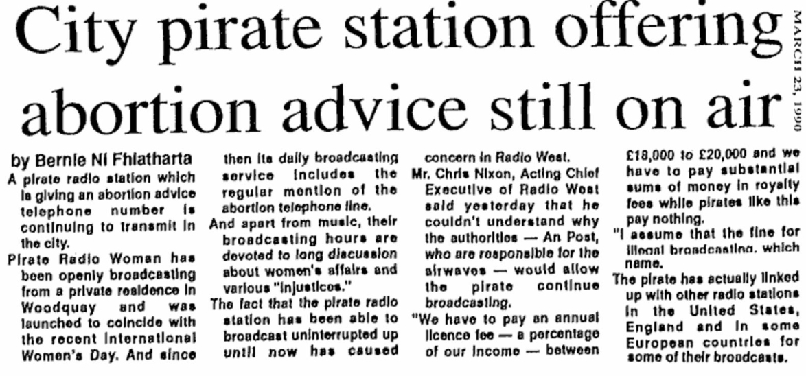 City pirate station offering abortion advice still on air is a headline from The City Tribune from March 23rd 1990.