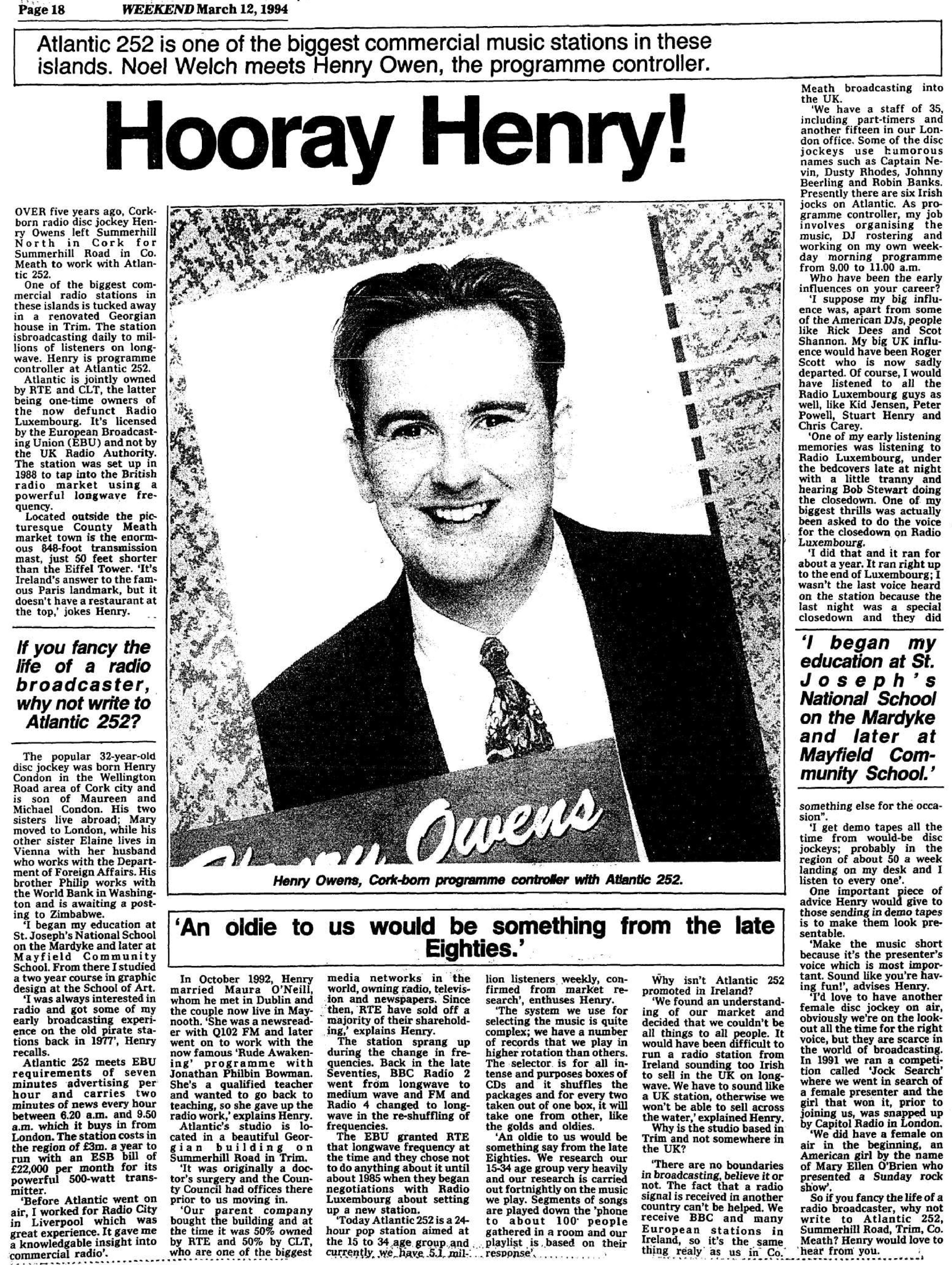 Hooray Henry! was a headline from The Irish Examiner dated March 12th 1994.