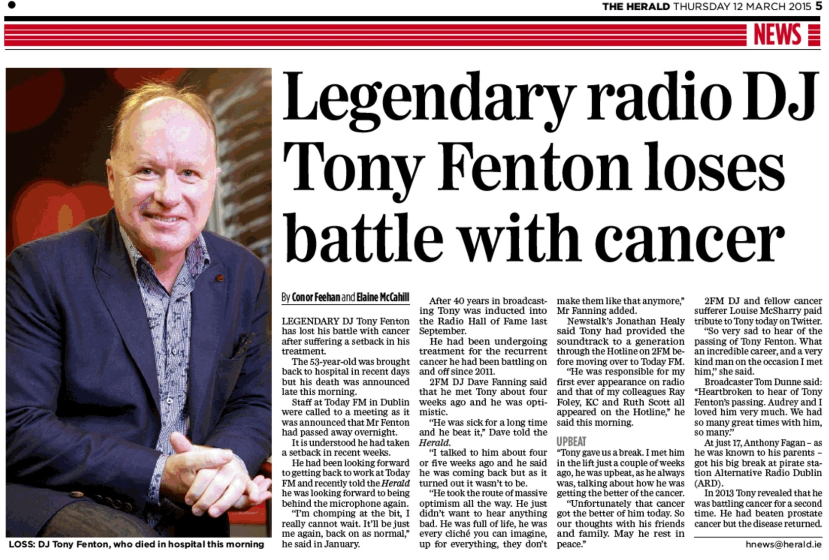 Legendary radio DJ Tony Fenton loses battle with cancer was a newspaper headline from The Herald dated March 12th 2015