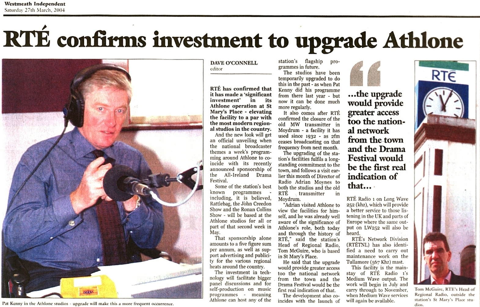 Westmeath Independent - RTÉ confirms investment to upgrade Athlone