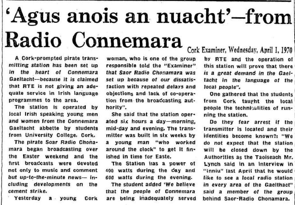 'Agus anois an nuacht' from Radio Connemara was a headline from The Cork Examiner dated April 1st 1970