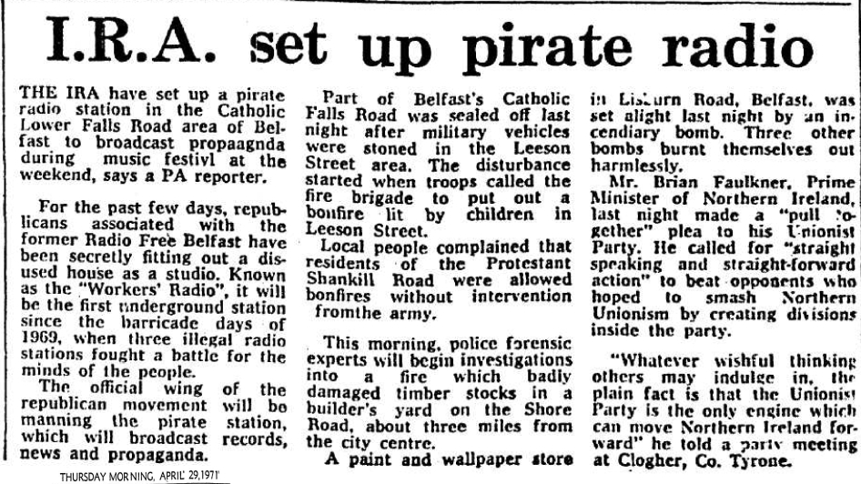 IRA set up pirate radio was a headline from The Cork Examiner dated April 29th 1971