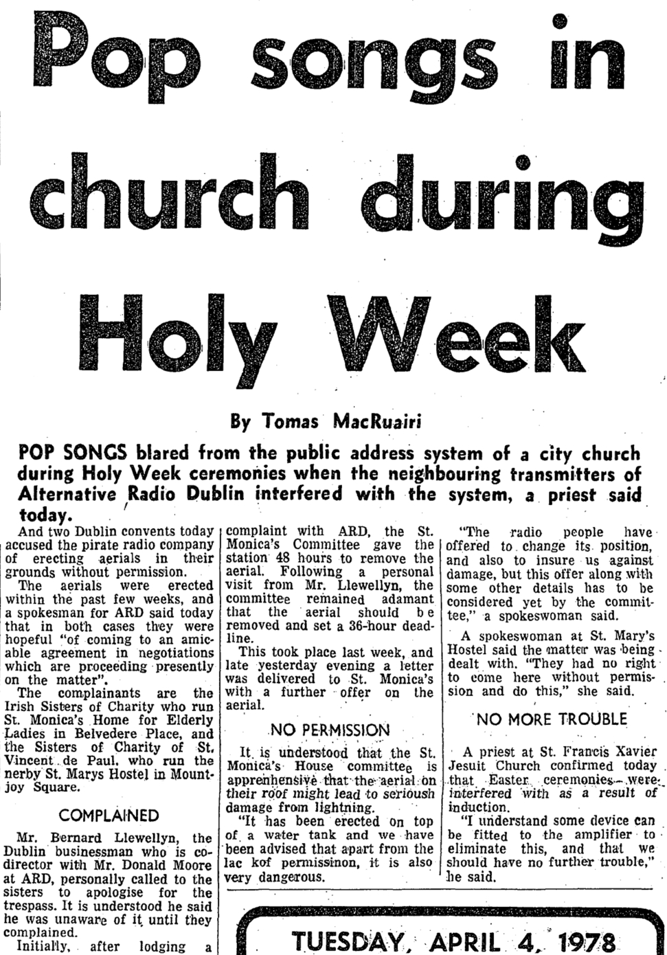 Pop songs in church during Holy Week was a newspaper headline from The Evening Press dated April 4th 1978