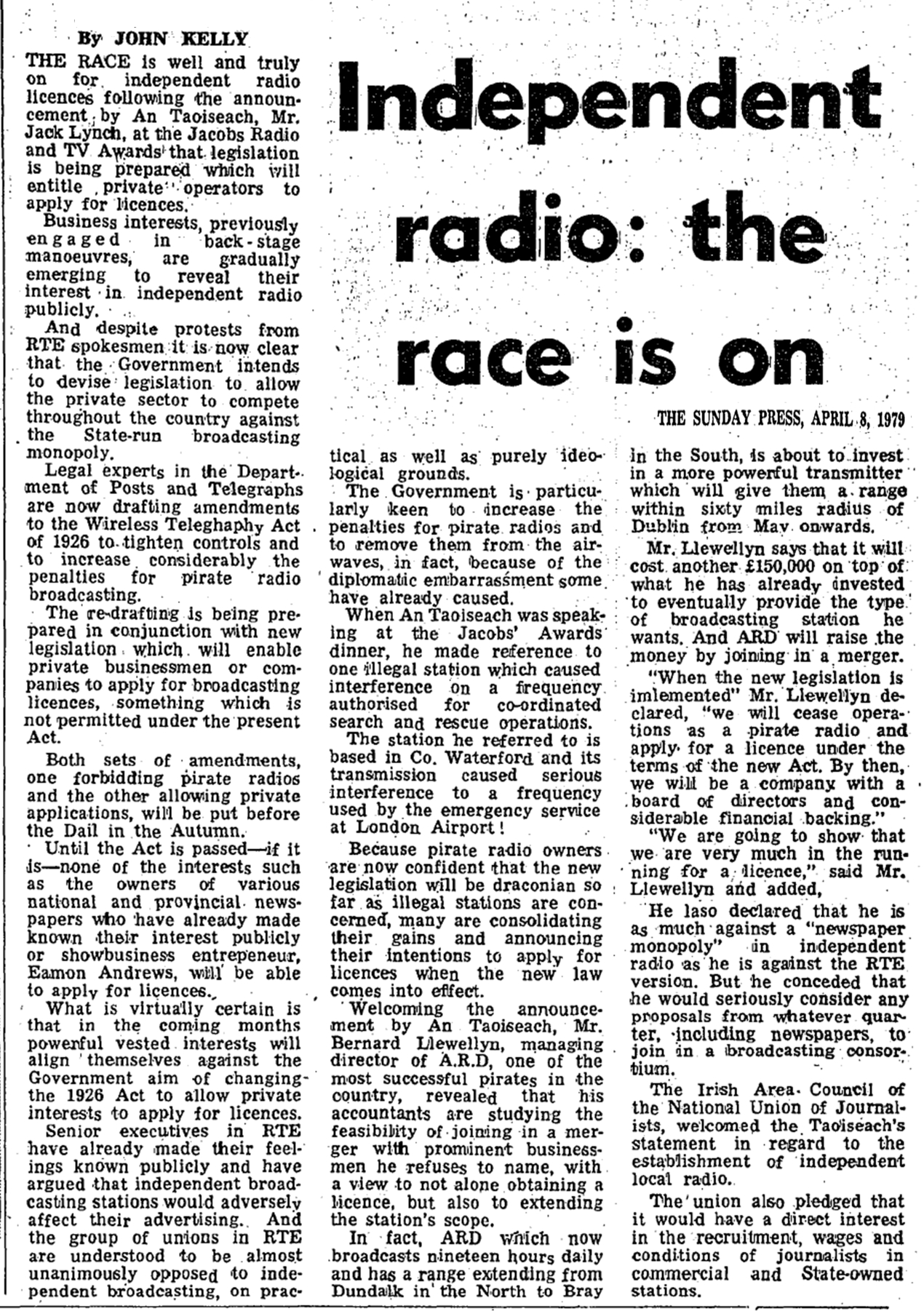 Independent radio - the race is on was a headline in The Sunday Press dated April 8th 1979