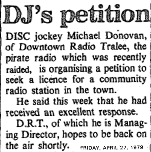 DJ's petition was a headline in The Kerryman dated April 27th 1979