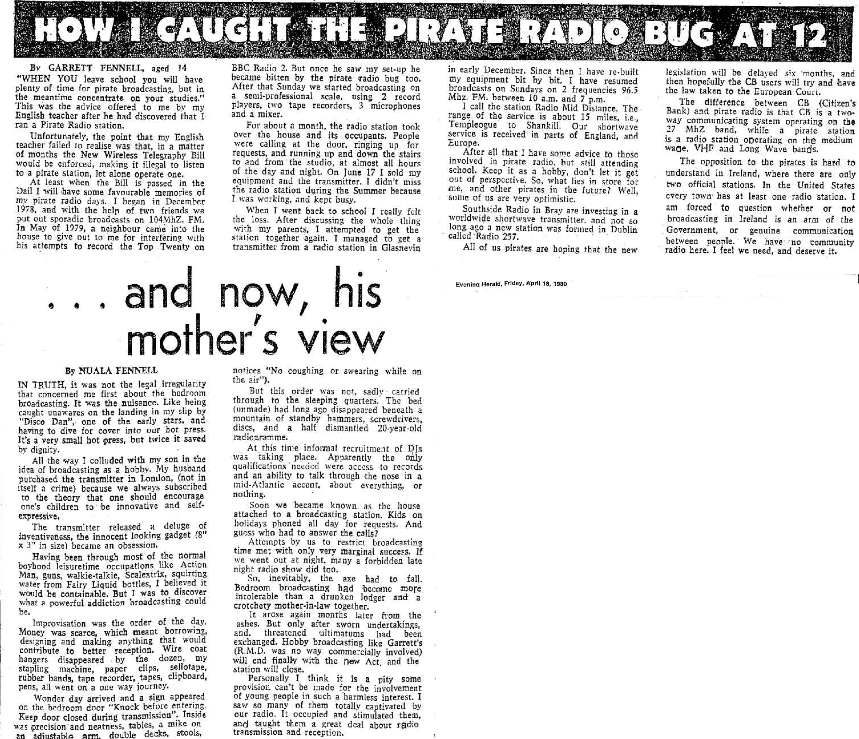 How I caught the pirate radio bug at 12 was a newspaper headline from The Evening Herald dated April 16th 1980