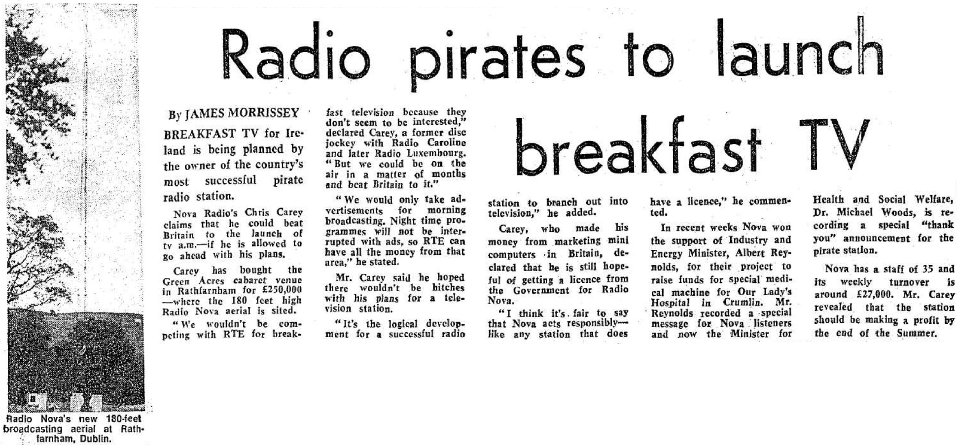 Radio pirates to launch breakfast TV was a newspaper headline from The Evening Herald dated May 26th 1982