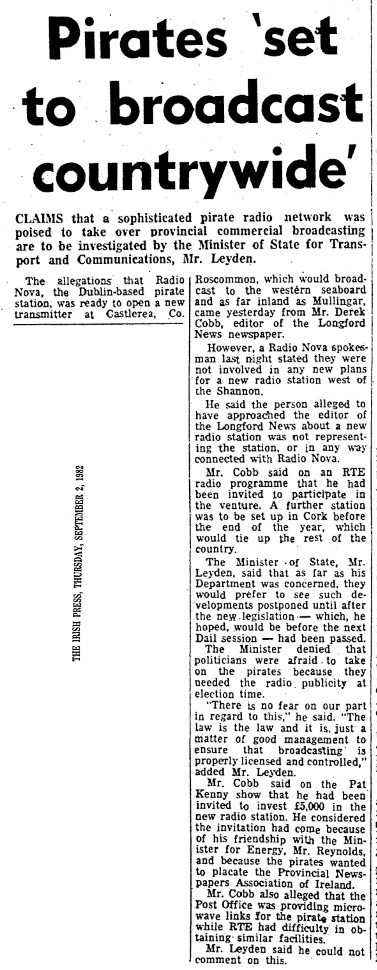 Pirates 'set to broadcast countrywide' was a newspaper headline from The Irish Press dated September 2nd 1982