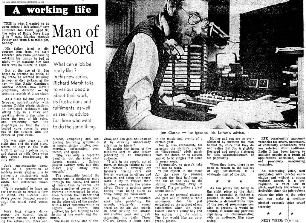 Man of record was a newspaper headline from The Irish Press dated September 16th 1982