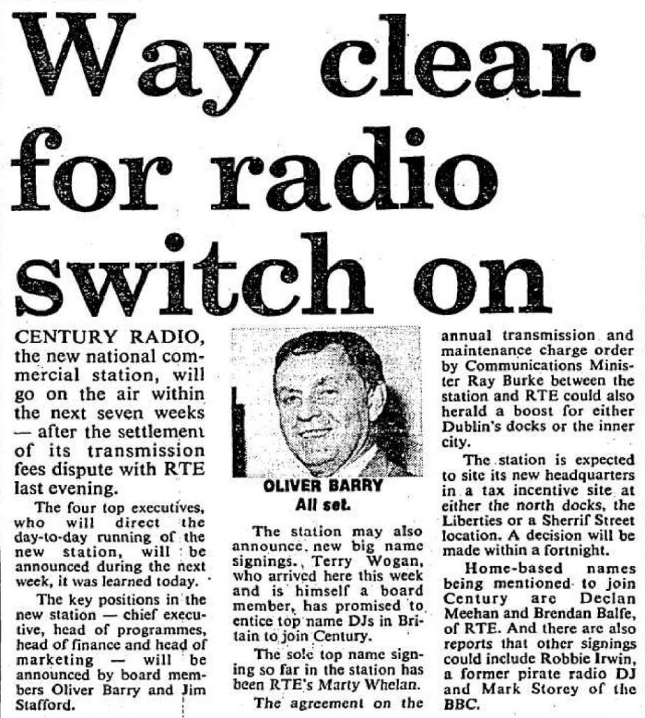 Way clear for radio switch on was a headline from The Evening Herald dated April 1st 1989.