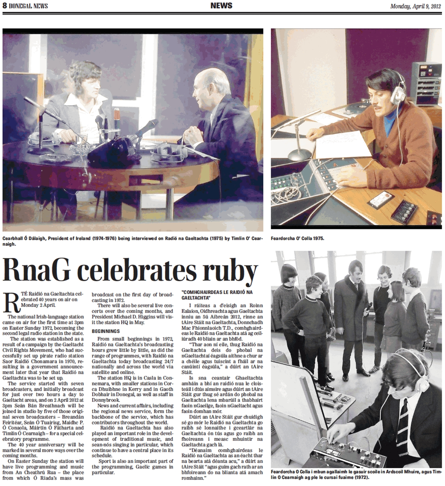 RnaG celebrates ruby was a headline in the Donegal News dated April 9th 2012