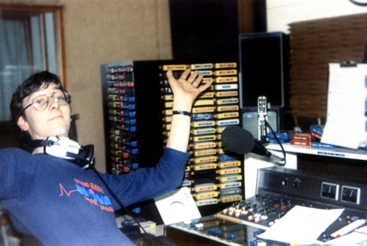 Colm Hayes during his half-hour of the Radio Nova closedown in May 1983