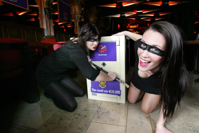 Dublin radio station Q102 has placed a high security safe filled with €20,000 cash in the window of the Dandelion Bar and Club on St Stephen's Green and is offering one lucky listener the chance to win the lot. To be in with a chance listeners have to call the station when they hear the Dandelion security alarm go off on air. If the tenth caller can correctly name the title and artist of the last three songs played, s/he will be sent one of only 80 possible keys which will unlock the safe.