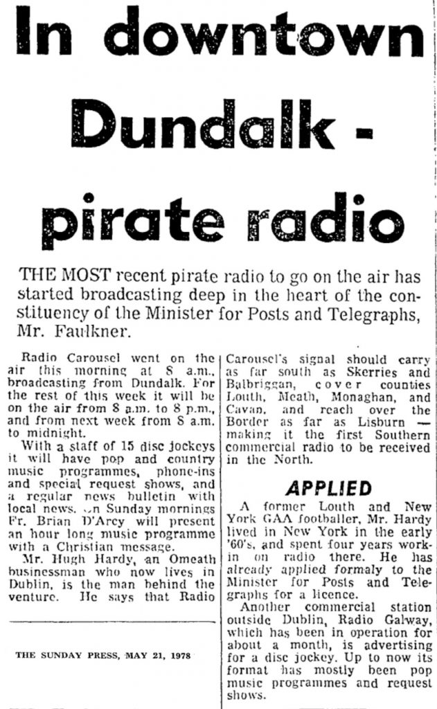 In downtown Dundalk - pirate radio was a newspaper headline from The Sunday Press dated May 21st 1978