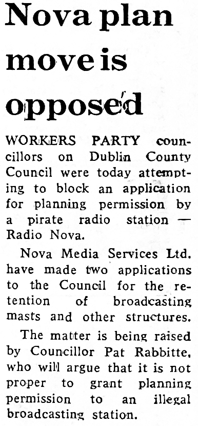 Nova plan move is opposed was a newspaper headline from The Evening Herald dated February 25th 1986