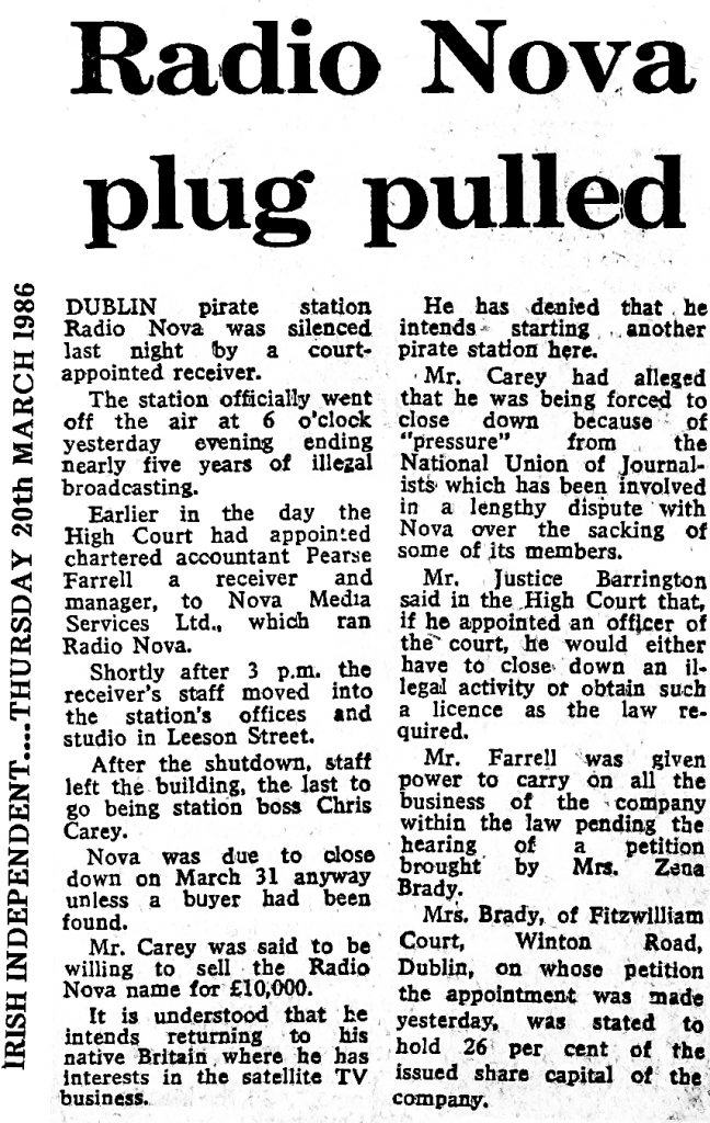 Radio Nova plug pulled was a newspaper headline from The Irish Independent dated March 20th 1986