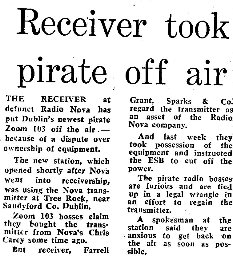 Receiver took pirate off air was a newspaper headline from The Evening Herald dated April 1st 1986