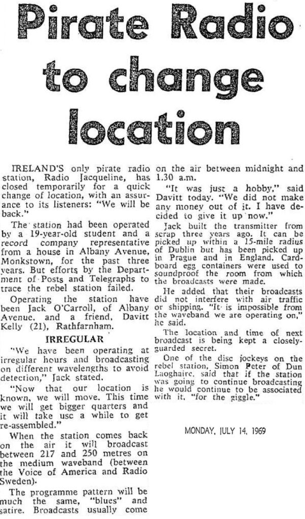 Pirate radio to change location was a headline from The Evening Herald dated July 14th 1969