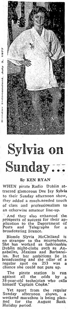 Sylvia on Sunday was a headline from The Sunday Independent dated July 3rd 1977.