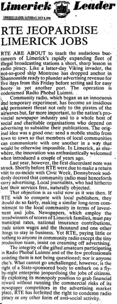 RTÉ jeopardise Limerick jobs was a newspaper comment from the Limerick Leader dated July 8th 1978