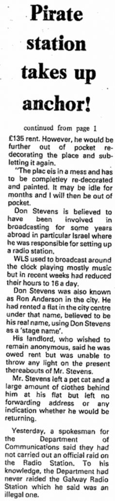 Mystery closure of pirate radio station was a headline from The City Tribune dated July 3rd 1987