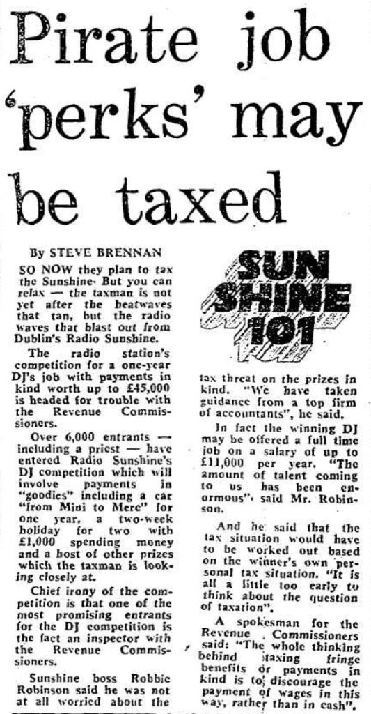 Pirate job 'perks' may be taxed was a headline from The Evening Herald dated July 9th 1987