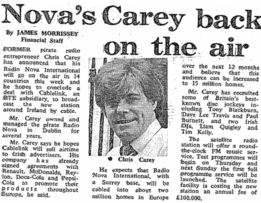 Nova's Carey back on the air was a newspaper headline from the Irish Independent dated April 26th 1988