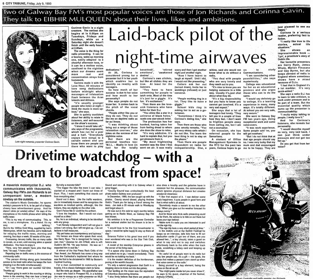 Galway Bay FM was featured in the City Tribune dated April 9th 1993.