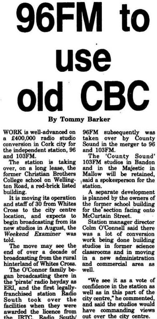 96FM to use old CBC was a headline from The Irish Examiner dated July 9th 1994.