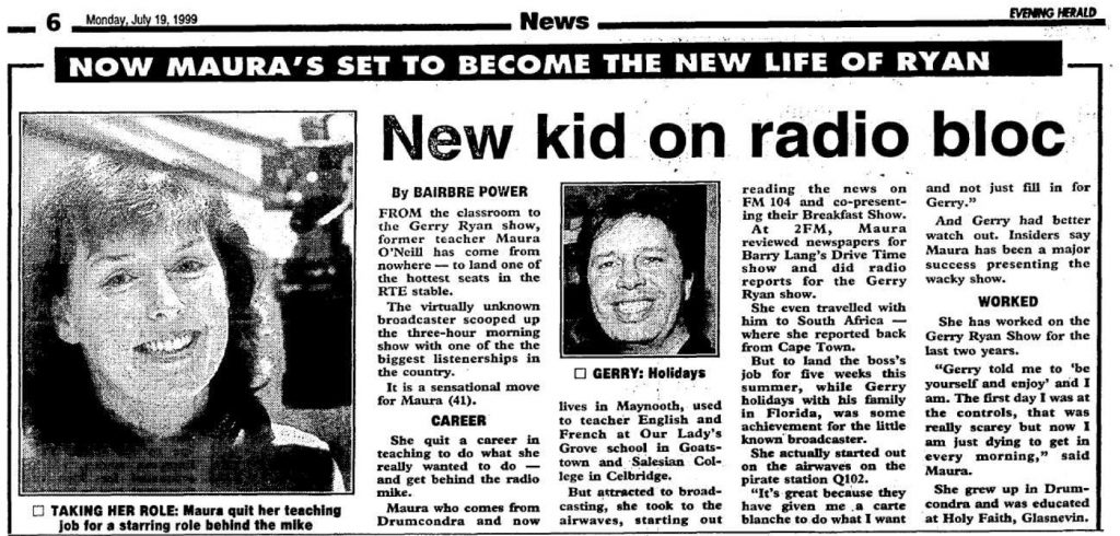 New kid on radio bloc was a headline from The Evening Herald dated July 19th 1999.