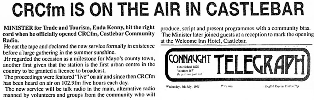 CRCfm is on the air in Castlebar