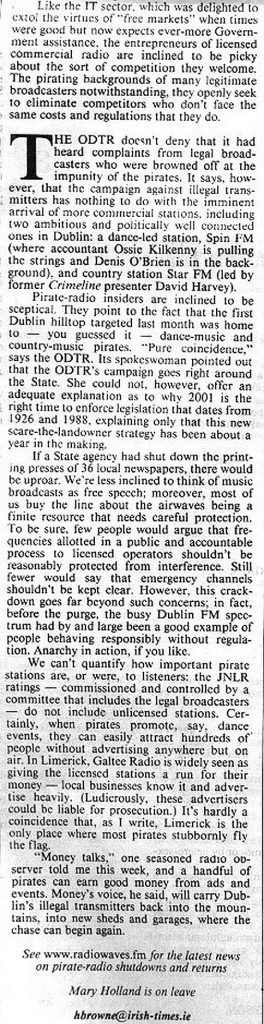 Irish Times Little drama as radios are switched off